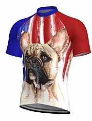 cheap -21Grams Men's Short Sleeve Cycling Jersey Summer Spandex Polyester Red Dog 3D American / USA Bike Top Mountain Bike MTB Road Bike Cycling Quick Dry Moisture Wicking Breathable Sports Clothing Apparel