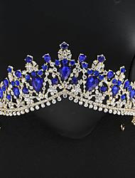 cheap -FORSEVEN Luxury Handmade Water Drop Rhinestone Tiara Big Crowns Hair Comb Birthday Tiara Wedding Hair Jewelry Accessories JL