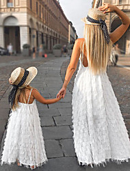 cheap -Mommy and Me Solid  Feather Sling Dresses