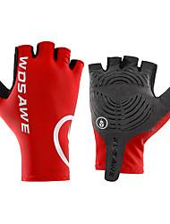 cheap -WOSAWE Bike Gloves / Cycling Gloves Anti-Slip Anti-Shake / Damping Wearable Motor Bike Fingerless Gloves Sports Gloves Burgundy Black for Teen Road Cycling Cycling / Bike Motorcycle