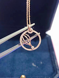 cheap -Women's Clear AAA Cubic Zirconia Pendant Necklace Zodiac Artistic Unique Design Fashion Brass Rose Gold 50 cm Necklace Jewelry 1pc For Street Gift Birthday Party Festival