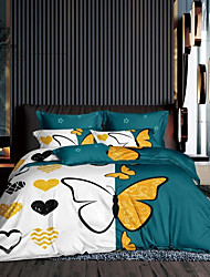 cheap -Couple Wedding Bedding Sets Esydream Couple Butterfly Love Wedding Duvet Cover Queen 3PC Ultra Soft Microfiber His Side Her Side Bedding Duvet Cover 1PC with 2pc Pillowcase