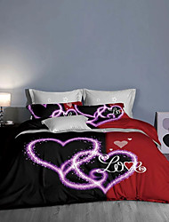 cheap -Couple Wedding Bedding SetsEsyDream Love Heart Wedding Duvet Cover King 3pc Mr. and Mrs.Red Heart Wedding Duvet Cover 1pc with 2pc Pillowcase Ultra Soft Microfiber