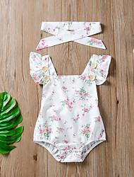cheap -Baby Girls' Active Basic Floral Print Short Sleeves Romper White
