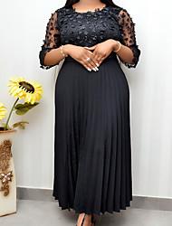 cheap -Women's Plus Size Dress Swing Dress Maxi long Dress 3/4 Length Sleeve Textured Flower Sexy Fall Spring Summer Black L XL XXL XXXL 4XL