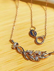 cheap -Women's Clear AAA Cubic Zirconia Pendant Necklace Monogram Leaf Dainty Elegant Fashion Trendy Brass Rose Gold 50 cm Necklace Jewelry 1pc For New Baby Party Evening Gift Beach Festival