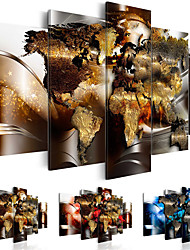 cheap -Print Rolled Canvas Prints - Maps Comtemporary Five Panels Art Prints