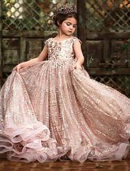 cheap -Ball Gown Sweep / Brush Train Flower Girl Dresses Wedding Tulle Sleeveless Jewel Neck with Pick Up Skirt