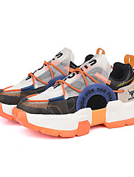 cheap -Men's Trainers Athletic Shoes Casual Daily Outdoor PU Elastic Fabric Breathable Non-slipping Wear Proof Gray Orange Fall Spring