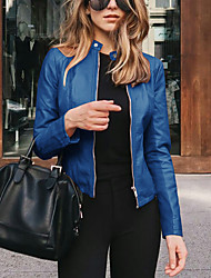 cheap -Women's Jacket Street Spring   Fall Regular Coat Slim Fit Chic Modern Jacket Long Sleeve Solid Color Zipper Light Pink Navy