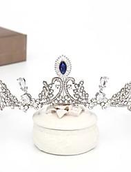 cheap -FORSEVEN Wedding Hair Ornaments Handmade Royal Blue Crystal Crowns Bridal Tiara Wedding Headpiece Wedding Hair Accessories JL