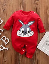 cheap -Baby Boys' Basic Rabbit Animal Print Long Sleeve Romper Red