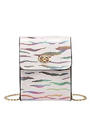 cheap -Women's Girls' Bags PU Leather Mobile Phone Bag Chain Print Fashion Shading Daily Date Retro Baguette Bag Chain Bag Purple Green White