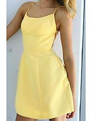 cheap -Sheath / Column Beautiful Back Sexy Holiday Homecoming Dress Spaghetti Strap Sleeveless Short / Mini Satin with Sleek 2021