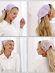 cheap -AWAYTR Floral Print Scrunchies Hair Scarf Headband Elastic Hair Band Cute Turban Headwrap Headbands Women Hair Accessories