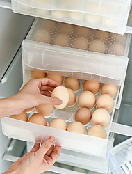 cheap -Double-layer Storage Box Egg Rack Holder Drawer Type Refrigerator and Kitchen Storage Box Supplies Household 60-Compartment Egg Box