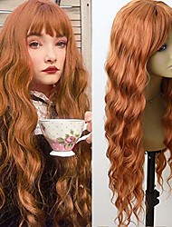 cheap -Red Orange Hair Synthetic Full Wigs Loose Wave Wig Air Bangs Heat Resistant Long Wavy Synthetic None Lace Wigs For Fashion Women