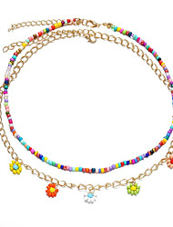 cheap -Women's Girls' Choker Necklace Pendant Necklace Drop Flower Dainty Simple Holiday European Imitation Pearl Resin Rainbow 44-50 cm Necklace Jewelry 1pc For Party Evening Street Prom Birthday Party