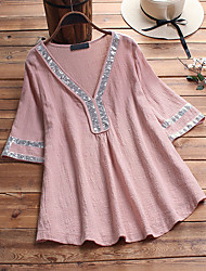 cheap -Women's Plus Size Tops Blouse Shirt Plain Sequins Half Sleeve V Neck Basic Daily Weekend Washable Cotton Fabric Summer Blue Blushing Pink