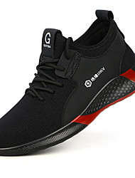 cheap -Unisex Safety Shoe Boots Sporty Classic Chinoiserie Office & Career Safety Shoes Tissage Volant Breathable Non-slipping Wear Proof Black / Red Fall Spring