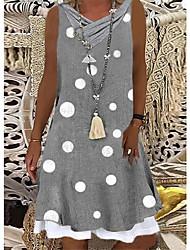 cheap -Women's Wrap Dress Knee Length Dress Gray Sleeveless Dot Polka Dots Spring Summer V Neck Casual 2021 S M L XL XXL