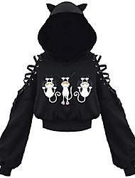 cheap -women's hoodie crop top cat ear hooded sweatshirt hollow out lace up sleeves(4xl,cats climbing)