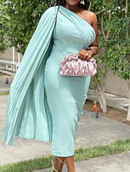cheap -Women's Plus Size Dress Sheath Dress Midi Dress Sleeveless Solid Color One Shoulder Fashion Spring Summer Light Blue Royal Blue Black L XL XXL XXXL