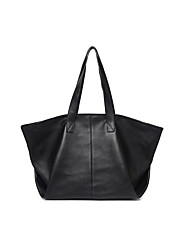 cheap -Women's Bags Nappa Leather Tote Zipper Simple Textured Leather Daily Office & Career Tote Black