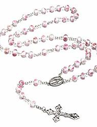 cheap -catholic rose flower beads rosary veluriyam beads handmade catholic necklace gifts (pink-faceted)