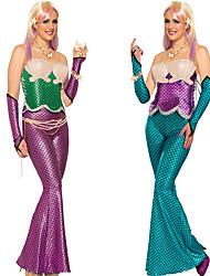 cheap -Aqua Queen Aqua Princess Mermaid Cosplay Costume Party Costume Women's Movie Cosplay Purple Green Bra Sleeves Tail Halloween Carnival Masquerade