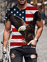 cheap -Men's Tee T shirt Shirt 3D Print Graphic Eagle American Flag Independence Day Plus Size Short Sleeve Casual Tops Basic Designer Slim Fit Big and Tall Black / Summer