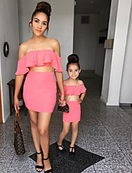 cheap -Dresses Family Look Solid Colored Daily Black Red Light Blue Short Sleeve Above Knee Solid Matching Outfits / Vacation / Ruffle / Cute