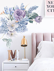 cheap -Purple Romantic Watercolor Flowers Wall Sticker Living Room Bedroom Sofa Bedside Background Self-Adhesive Wall Sticker 30*90cm