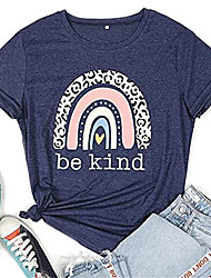 cheap -women be kind shirt casual short sleeve kindness t shirt funny leopard rainbow graphic tee tops