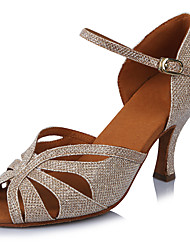cheap -Women's Latin Shoes Salsa Shoes Professional Heel Glitter Cuban Heel Open Toe Gold Buckle Ankle Strap Adults' Sparkling Shoes