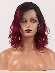 cheap -Remy Human Hair 4x13 Closure Wig Side Part style Burmese Hair Loose Curl Red Wig 150% Density Odor Free Women New 100% Virgin Women's Human Hair Lace Wig