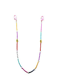 cheap -colorful beaded smile flower mask holder transparent chain necklace, smiley face glasses necklace