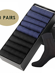 cheap -Men's Socks Solid Colored Socks Warm Casual Gray 10 Pairs