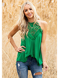 cheap -Women's Holiday Tank Top Vest Plain Cut Out Flowing tunic Round Neck Basic Streetwear Boho Tops Blue Blushing Pink Green