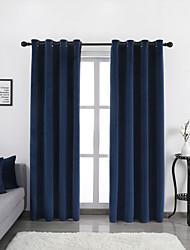 cheap -Window Curtain Window Treatments Blue 2 Panels Room Darkening Plain/Solid for Living Room Bedroom