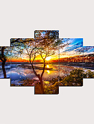 cheap -5 Panels Wall Art Canvas Prints Painting Artwork Picture Sunset Tree Lake Landscape Home Decoration Décor Rolled Canvas No Frame Unframed Unstretched