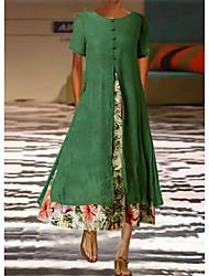 cheap -Women's Swing Dress Maxi long Dress Green White Short Sleeve Floral Print Spring Summer Casual 2021 S M L XL XXL XXXL
