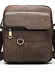 cheap -Men's Bags Nappa Leather Cowhide Crossbody Bag Zipper Daily Messenger Bag Light Coffee Brown Coffee
