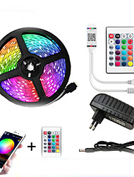 cheap -LED Strip Lights 5m Flexible LED Light Strips Light Sets String Lights 150 LEDs 5050 SMD 10mm 1 24Keys Remote Controller 1 x 12V 2A Adapter 1 set RGB Red Blue Christmas New Year's APP Control Decorative Self-adhesive
