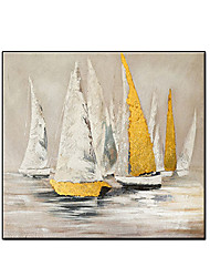 cheap -Oil Painting Handmade Hand Painted Wall Art Square Retro Sail Abstract Wall Art Canvas Home Decoration Decor Stretched Frame Ready to Hang
