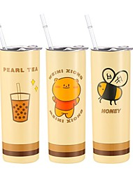 cheap -Vacuum Insulated Cup Double Wall Water Bottle Stainless Steel Skinny Tumbler Cup with Lid Cold Drink Juice Cup Straw Cup