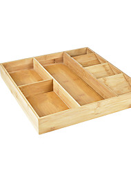 cheap -Bamboo Kitchen Drawer Storage Box Expandable Silverware Storage Box Kitchen Cutlery Box Knife Tool Tray
