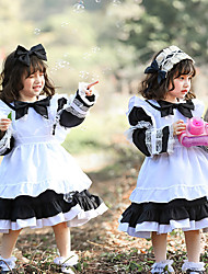 cheap -Lolita Sweet Lolita Cute Dress Girls' Japanese Cosplay Costumes Light Pink / Blue / Black Solid Color Above Knee / Apron / Kid's