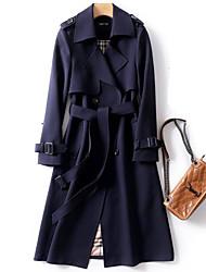 cheap -Women's Plus Size Coat Pocket With Belt Going out Work Long Sleeve Shirt Collar Long Fall & Winter Blue Yellow Black XL XXL 3XL