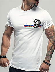 cheap -Men's Unisex Tee T shirt Shirt Hot Stamping Graphic Prints Tires Print Short Sleeve Casual Tops Cotton Basic Designer Big and Tall White Black